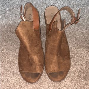 Brown peep toe mules